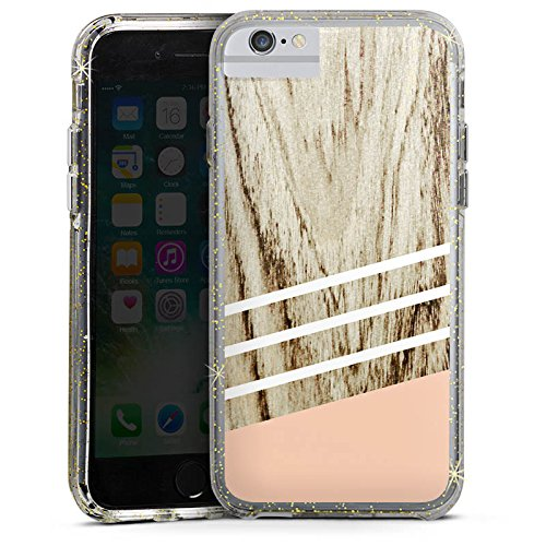 Apple iPhone 6 Plus Bumper Hülle Bumper Case Glitzer Hülle Holz Look Pastell Pastel Bumper Case Glitzer gold