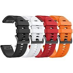 ANCOOL Compatible Garmin Fenix 5X Band Easy Fit 26mm Largeur Bracelet en Silicone Souple Compatible Garmin Fenix 5X / Fenix 3 / Fenix 3 HR (4 pcs Multicolores)
