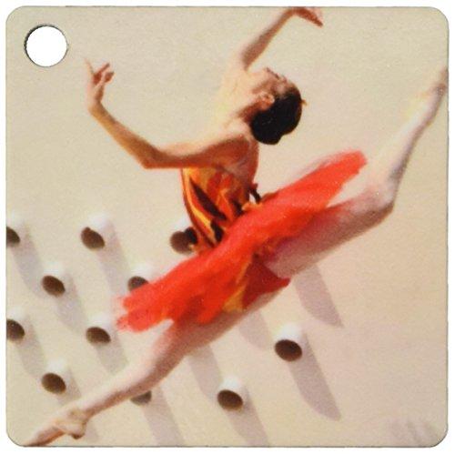3dRose Schlüsselanhänger, Ballerina, tanzend und springend mit rotem Kleid, 6 cm, 2 Stück -