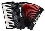 Hohner Bravo III 72 SilentKey Akkordeon (schönes Akkorden mit 34 Piano-Tasten, 4 Standardbass Chöre, 72 Standardbässe, inkl. Trageriemen und Gigbag) Schwarz