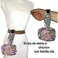 Bolso de mano o cinturón, ESTAMPADO MANDALA artesanal. Con hebilla clip para colgarse donde prefieras. Lavable exclusivo y patentado. Mejor y más cómodo que riñonera.