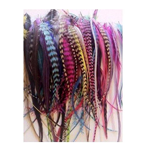 Sexy Sparkles Damen 100Federn für Hair Extensions Rainbow Colors of gemischt für echte Grizzly und solide 10,2cm-6