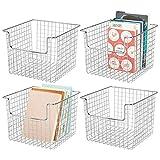 mDesign set van 4 draadmand voor de kast of het rek - praktische opbergdoos voor de keuken, badkamer of kantoor - open opbergdoos van metaaldraad - zilverkleurig
