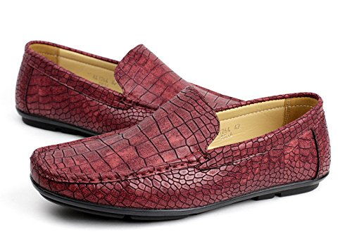 Bordeaux Mocassini Albertini Coccodrillo UKSize Slip Stile Casual Driving Motivo On Uomo Mocassino Scarpe Elegante q1O16