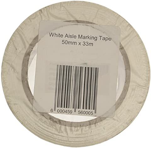 Signs & Labels FBLW2 50mm x 33m Aisle Marking Tape - White