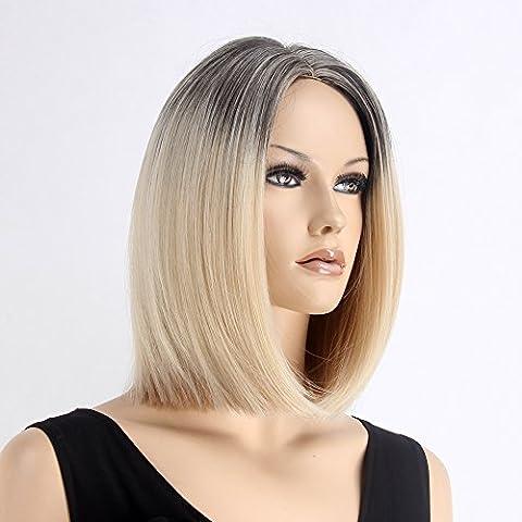 Stfantasy des Perruques pour femme longue lisse résistant à la chaleur Cheveux synthétiques 35,6cm 160g Perruque intégrale Peluca gratuit Cheveux Net + Clips, Blond foncé ombré