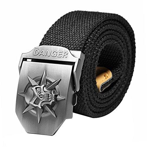 Ayliss® - Cinturón de lona con hebilla de calavera para hombre Schädel, Schwarz Longitud: 110 cm