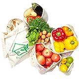 Obst- und Gemüsebeutel Einkaufstaschen mit Brotbeutel aus Baumwolle – plastikfrei - wiederverwendbar - Shopper Netz 6er SET aus 1x S, 2x M, 2x L, 1x Stoffbeutel   INKLUSIVE Erntekalender + Tipps ebook