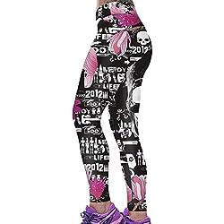 A. M. Sport Mallas de Mujer para Andar y para Clases de Pilates y de Yoga. Leggins con Estampados y Elasticos (Calavera Mariposa) - Talla Única