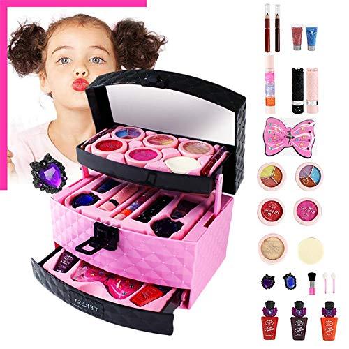 23PCS enfants cosmétiques jeu de jouets, soluble dans l'eau enfants Make Up Kit petite princesse cosmétiques cas jouer à la maison jouets-inclure la poudre gâteau Puff Eye Shadow vernis à ongles pince
