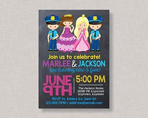 qidushop Lustiges Holzschild Geschwister Geburtstagseinladung Prinzessin und Polizei Einladung Prinzessin und Polizei Party Einladung Prinzessin und Polizei Geburtstag Einladung Dekoration