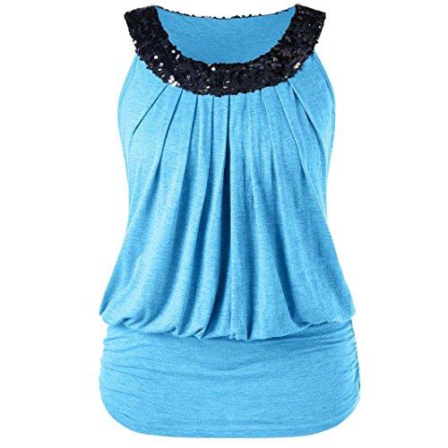(cinnamou Frauen-Große Größen-Hemd-Art- und Weiseärmellose Pailletten Sparkly O-Neck Geraffte Trägershirts T-Shirt Weste Damen Tanktop)
