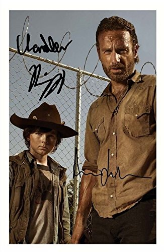 The Walking Dead - Andrew Lincoln & Chandler Riggs Signiert Autogramme 21cm x 29.7cm Plakat Foto -
