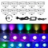 QACA Lot de 10 Spots LED pour Terrasse, Escaliers Pont Lumière pour Jardin, Patio, Spots Luminaires LED Decoration les Escalier pour Eclairage Sécuritaire DC 12V Etanche IP67 (Pack 10, RGB)