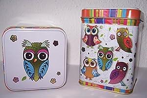 Boîte à thé Motif chouette Multicolore
