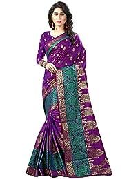 The Fashion Outlets Women's Zari Work Pure Cotton Silk Purple Designer Party Wear Saree
