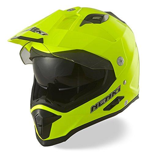 NENKI Casco Motocross Enduro Dual Sport Touring/Adventure NK-313, ECE Approvato con Dual visiera (Hi-Viz,L 59-60CM)