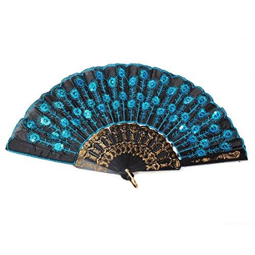 menmuster schwarz Tuch Folding Hand Fan, Plastik, blau ()