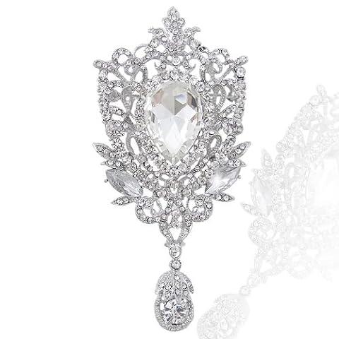 EVER FAITH® l'Insigne De Cristal- Broche Pendentif Cristal Autrichien Clair