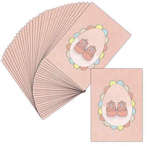 Carte Faire-Part Naissance Fille - Carte Postale - 32 Cartes - Carte Petits Pieds De Bébé En Rose...