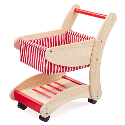 Howa Einkaufswagen für Kinder aus Holz Natur / rot 48821