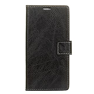 Premium Alcatel 3V Leather Case Cover Wallet Folding Flip Case with Kickstand Card Slots Artificial Synthetic PU Leather Case [Shockproof Inner Shell] for Alcatel 3V (Black)