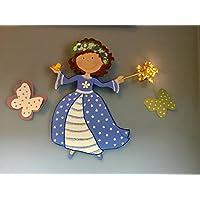 Lámpara princesa con pajarito, regalo original para una recién nacida o bebé, luz infantil