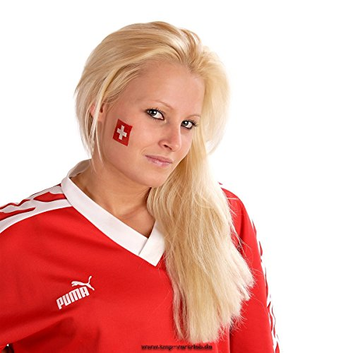 10 x Schweiz Tattoo Fan Fahnen Set - WM 2018 Swiss Temporary Tattoo Flag (10) (Tattoo Fahne)
