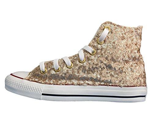 Converse All Star con applicazione di tessuto paillettes oro e glitter oro Oro