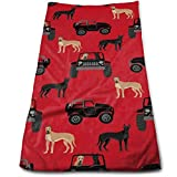ewtretr Toallas De Mano, Great Dane in Car with Dog Cool Towel Beach Towel Instant