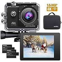 Videocamera 4K Action WiMiUS Q1 16MP Wi-Fi Ultra HD EIS Sports Cam Obiettivo grandangolare regolabile da 170 gradi Videocamera subacquea 40M con 2 batterie ricaricabili e kit di accessori di montaggio