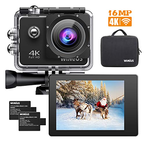 WiMiUS Q1 Caméra Sport 4k WIFI Ultra HD 16MP Caméra d'Action Sportive Etanche 40M 2' LCD Ecran,...