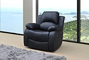Lovesofas Valencia 1 Seater Bonded Leather Recliner Chair - Black from Love Sofas