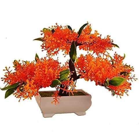 Dekorative Blumen Simulation künstliche blumen Künstliche Pflanze Blume Baum Grün Topf Wohnzimmer Tisch Dekoration Lucky Feng Shui deko (3 Farbe) ,