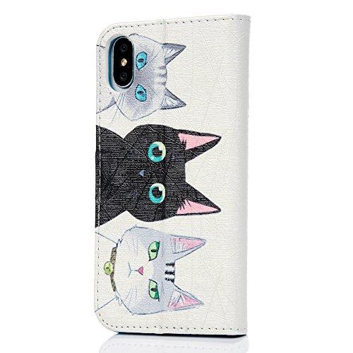 MAXFE.CO Schutzhülle Tasche Case für iPhone X PU Leder Flip Tasche Cover Gemalt Muster im Ständer Book Case / Kartenfach Baum Katze 4
