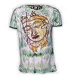 Kunst und Magie Buntes Sure 70er Retro T-Shirt Buddha IM Hippie Batik Look, Größe:XL, Farbe:Grün