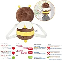 Baby Head Protector Toddlers Infant Shoulder Back Protective Safety Pads Cushion Pillow with Adjustable Strap for Babies Walkers Prevent Head Injured (Bee/Fox)