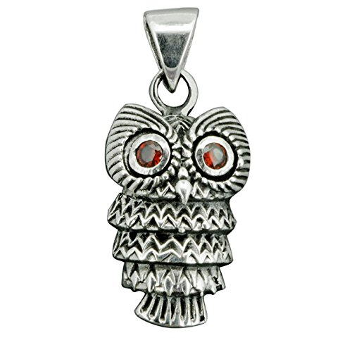 Tier-symbolik (Eule mit Rot CZ Augen Anhänger 925Sterling Silber 4.3g Prägung Silber beldiamo)