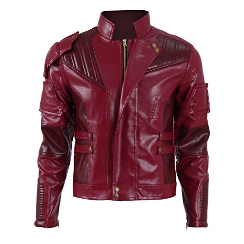 Halloween Herren Langer Jacke Mantel Rote PU Leather -