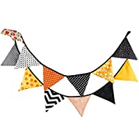 3m Cotton Fabric Bunting 12 Flag Banner Garland Double Sided Vintage Pennant for Baby Birthday Party Ceremonies Wedding Shower Kid Children Bedroom Favor Decoration