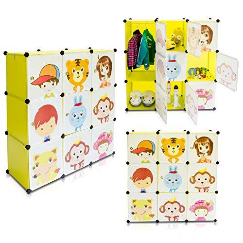 Kinderzimmer Steckschrank - Set aus 9 Modulen, Grün - DIY Steckregal System Regalschrank - Grinscard