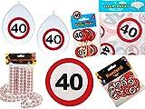 45-tlg. Partyset 40. Geburtstag Dekoset Dekobox - Verkehrschild - Tischdeko, Luftballons