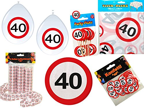 45-tlg. Partyset 40. Geburtstag Dekoset Dekobox - Verkehrschild - Tischdeko, Luftballons (Buffet-basis)