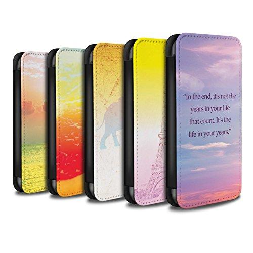 STUFF4 PU-Leder Hülle/Case/Tasche/Cover für Apple iPhone 4/4S / Eiffelturm Skizze Muster / Lebendige Ombre Kollektion Pack 6pcs