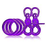 Ganzoo 3 x O - Ring aus Stahl und 2 x Scheren-Karabiner Haken mit Dreh-Gelenk/Dreh-Kopf im Set, DIY Hunde-Leine/Hunde-Halsband, nichtrostend, Ideal mit Paracord 550, Farbe: violett