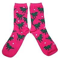 Ladies Black Shimmer Dinosaur Triceratops Socks UK 4-8 Eur 37-42 USA 6-10
