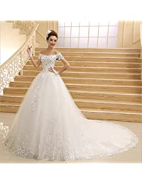 LUCKY-U Wedding Dress Lace Beaded Wedding Dresses for Bride Off Shoulder  Bridal Ball Gowns 081eb55c7e73