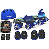 Jaspo Blue Men Pro Senior Skates Combo (skates+helmet+knee+elbow+wrist+bag)suitable for age 6 to 14 years