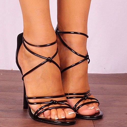 Escarpins à Peine Là Brevet Noir Lanières Sandales Peep Toes Chaussures Hauts Talons Noir