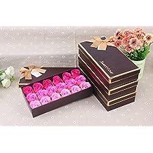 FunRun 18 Pezzi profumato per il bagno petali rosa, Creativo regalo Fiore del sapone artificiali Rose fiori di sapone per la festa di compleanno San Valentino(Rosa)